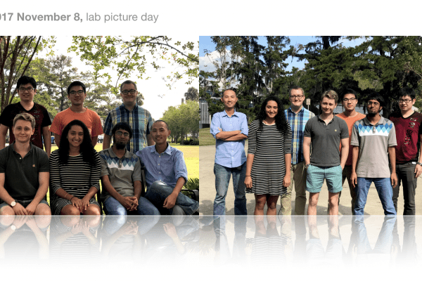 2017 Lab Picture Day: group photos of lab members in an outdoor landscape