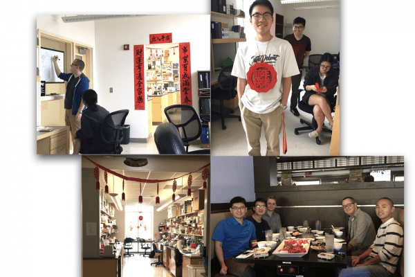 Lab members celebrating the 2018 Lunar New Year