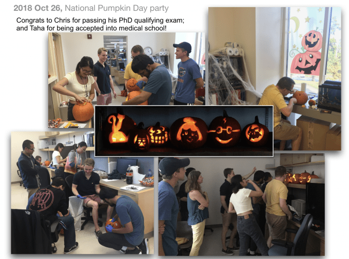 """Our lab members celebrating """"National Pumpkin Day"""" in October 2018"""