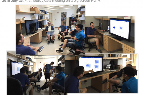 Members experiencing our first data meeting with a large-screen television monitor